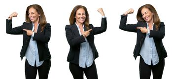 Middle age business woman with long hair royalty free stock photo