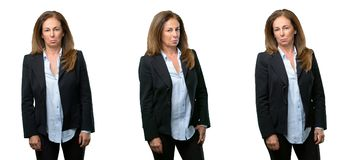 Middle age business woman with long hair royalty free stock photos