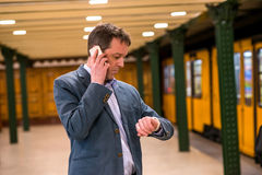 A middle age businessman in the subway Stock Images