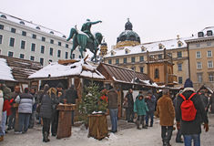 Middle age Christmas market in Munich. Christmas event in Munich, Germany. Christmas market Mittelaltermarkt in Wittelsbacher Platz stock photography