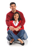 Middle age couple. Posing isolated on a white background Stock Photos
