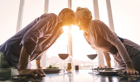 Middle age couple at the restaurant Stock Photography