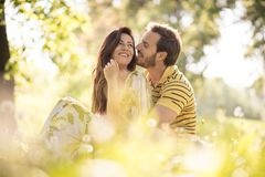 Middle age couple share tender. Beauty in nature royalty free stock images