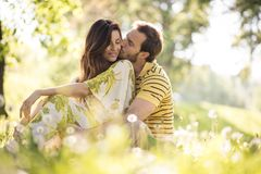 Middle age couple share tender. Beauty in nature royalty free stock photo