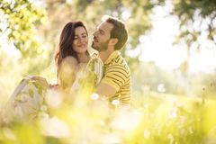 Middle age couple share tender. Beauty in nature stock photography