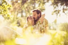 Middle age couple share tender at nature. Beauty in nature stock images