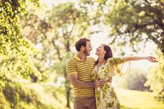 Middle age couple share tender at nature. Beauty in nature stock photography