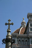Middle age cross. Dome of florence in italy with a old stone cross Royalty Free Stock Photo