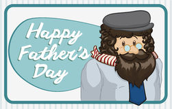 Middle Age Dad with Greeting Sign for Father's Day, Vector Illustration. Middle age dad with beard, beret, scarf and wearing glasses posing in greeting sign for royalty free illustration