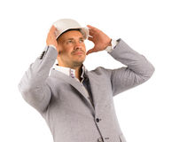 Middle Age Engineer Thinking New Design Royalty Free Stock Images