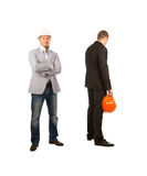 Middle Age Engineers Facing Different Directions Stock Photography
