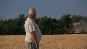Middle age farmer looking at camera, combine harvesting wheat plants in the golden wheat field. Middle age farmer looking at camera, combine harvesting wheat stock footage