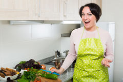 Middle age female in apron posing near kitchen top Stock Images