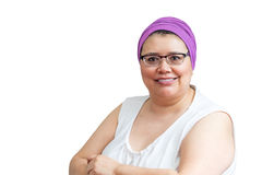 Middle Age Female Coping With Breast Cancer. And accessorizing with head wraps and scarves Royalty Free Stock Photos