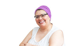 Middle Age Female Coping With Breast Cancer. And accessorizing with head wraps and scarves Royalty Free Stock Image