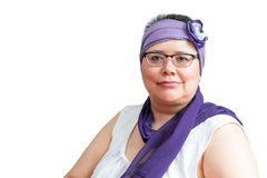 Middle Age Female Coping With Breast Cancer. And accessorizing with head wraps and scarves Royalty Free Stock Photo