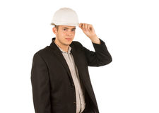 Middle Age Good Looking Engineer in Black Coat Stock Images