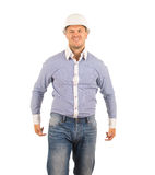 Middle Age Hunk Engineer in Wacky Face Royalty Free Stock Image