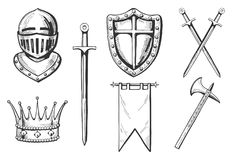 Middle age icons set. In hand drawn engraving style. Knight, crown, sword, crossed swords, flag or banner, ax Royalty Free Stock Images