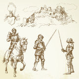 Middle age knights. Hand drawn set Stock Photography
