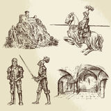 Middle age knights. Hand drawn collection Stock Images
