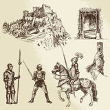 Middle age knights. Hand drawn set Royalty Free Stock Photos