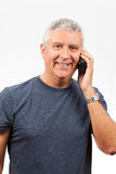 Middle Age Man with a Cell Phone Stock Images