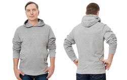 Middle age man in gray sweatshirt template isolated. Male sweatshirts set with mockup, copy space. Sweat shirt design front back. Middle age man in gray royalty free stock image