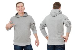 Middle age man in gray sweatshirt template isolated. Male sweatshirts set with mockup, copy space. Sweat shirt design front rear. Middle age man in gray royalty free stock photos