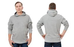 Man in gray sweatshirt template isolated. Male sweatshirts set with mockup and copy space. Sweat shirt design front back. Middle age man in gray sweatshirt royalty free stock images