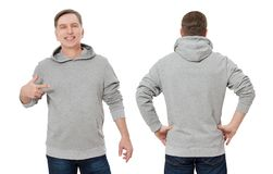 Middle age man in gray sweatshirt template isolated. Male sweatshirts set with mockup, copy space. Sweat shirt design front rear stock photos