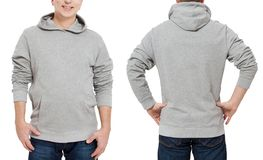Middle age man in gray sweatshirt template isolated. Male sweatshirts set with mockup, copy space. Sweat shirt design front rear. Middle age man in gray stock image