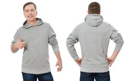 Middle age man in gray sweatshirt template isolated. Male sweatshirts set with mockup, copy space. Sweat shirt design front rear stock photo