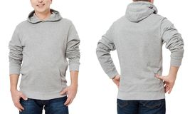 Middle age man in gray sweatshirt template isolated. Male sweatshirts set with mockup and copy space. Sweatshirt design front back. Middle age man in gray royalty free stock photo