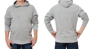 Middle age man in gray sweatshirt template isolated. Male sweatshirts set with mockup and copy space. Sweatshirt design front rear stock photography