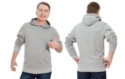 Middle age man in gray sweatshirt template isolated. Male sweatshirts set with mockup and copy space. Sweatshirt design front rear royalty free stock images