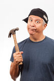 Middle Age Man with a Hammer Royalty Free Stock Images