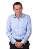 Middle Age Man in Pain Protecting Himself Royalty Free Stock Photos