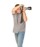 Middle age man portrait with dslr camera and big tele lens Stock Images