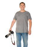Middle age man portrait with dslr camera and big tele lens Royalty Free Stock Images
