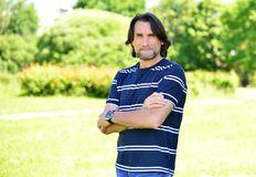 Middle Age Man Standing Outdoors Stock Images