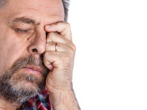 Middle age man suffering from a headache Royalty Free Stock Image