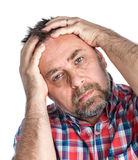 Middle age man suffering from a headache Royalty Free Stock Images