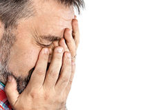 Middle age man suffering from a headache Royalty Free Stock Photo