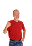 Middle age man with thump up. Royalty Free Stock Images