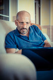 Middle age man using notebook Royalty Free Stock Photography