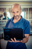 Middle age man using notebook Stock Images