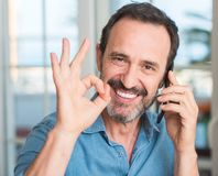 Handsome senior man at home Royalty Free Stock Photography