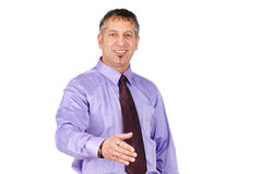 Middle age man wanting to shake hands Stock Photo