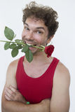 Middle-age man wearing red shirt with a red rose Royalty Free Stock Photography